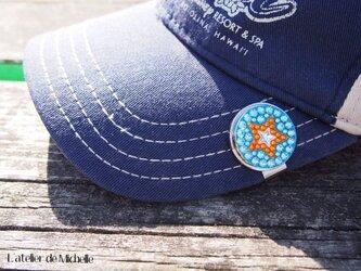 ゴルフマーカー(星・アクアマリン&オレンジ)の画像