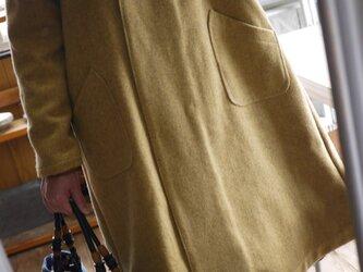 ウール麻混ラウンド襟コートの画像