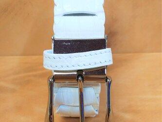 ワニ(ナイルクロコダイル)革メンズベルホワイトの画像