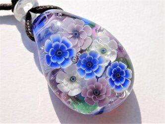 《アネモネ》 ペンダント ガラス とんぼ玉 花 春の画像