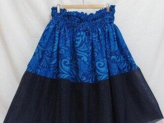 シングルパウスカート オーガンジー×カヒコ柄 スカート丈74cm ブルー[pu-082s74]の画像
