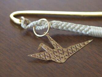 羽織紐のブックマーク 折り鶴の画像