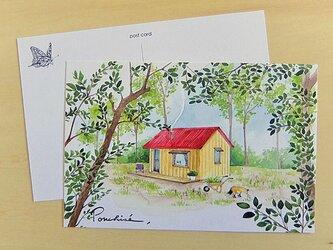 ポストカード 赤い屋根の家の画像