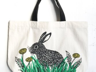 rabbit and dandelion mini toteの画像