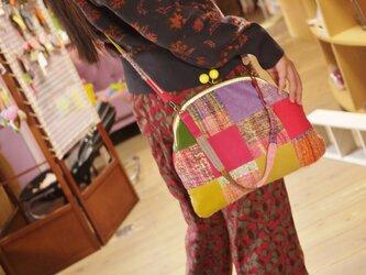 ◆SALE◆手織り がまぐちパッチショルダーバッグの画像