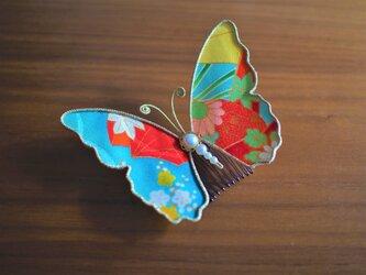 蝶々コーム☆アンティーク着物生地使用☆水色系☆の画像