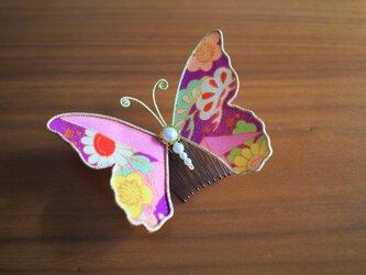 蝶々コーム☆アンティーク着物生地使用☆紫系☆の画像