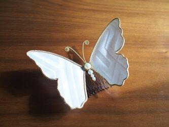蝶々コーム☆アンティーク着物生地使用☆白☆の画像