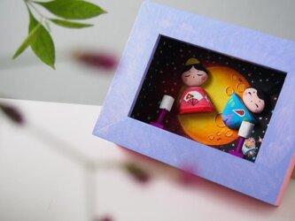 painted driftwood & pebble art ゆづちゃんの雛祭りの画像
