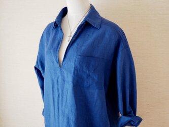 リネンスキッパーシャツ ブルーの画像