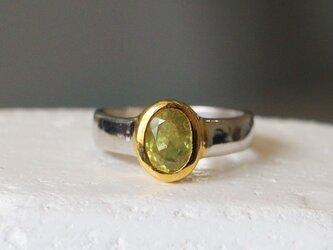 古代スタイル*天然ペリドット 指輪*15.5号 SVの画像