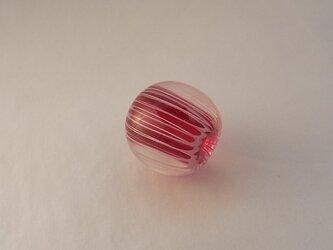 ひだ紋球・クランベリー・プチ・ガラス製・とんぼ玉の画像