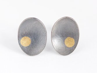 Oval a dot studs Oxidizedの画像
