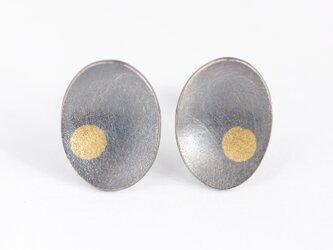 Oval a dot studs Oxidizedの画像