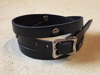 革紐のブレスレット [M] (黒色)の画像