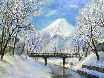 雪の忍野富士の画像