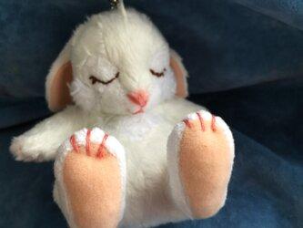 new眠りウサギキーホルダー(ホワイト)の画像