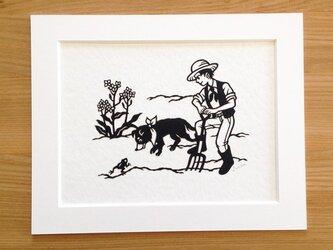 犬の切り絵「畑で」◆ハンタウェイの画像