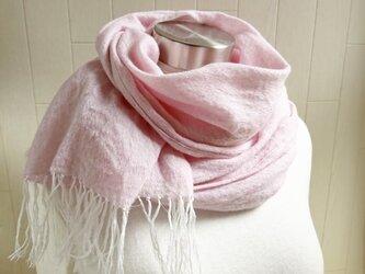 リネン ウール ガーゼのストール ピンクの画像