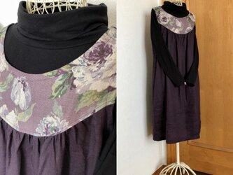 薔薇柄ヨークノースリーブワンピース紫の画像