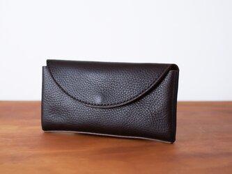 イタリア製牛革のコンパクトな長財布2  /   チョコ※受注製作の画像