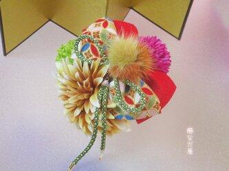 着物 髪飾り 成人式 七五三 黄赤系 和りぼん ヘアアクセサリー 和装 振袖の画像