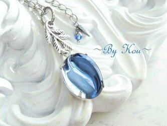 ~// Harmony Blue Glass //~vintage necklace.の画像