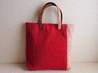 裂き織りバッグ 赤×生成りの画像