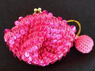 編みがま口財布 スパンコールの画像