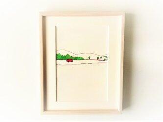 原画「田舎道」水彩イラスト ※木製額縁入りの画像