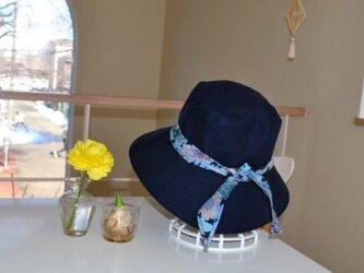 リネン リバティ ベーシック ネイビー 帽子  57〜59cmの画像