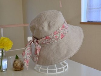 リネン リバティ ベーシック リバーシブル 帽子  57〜59cmの画像