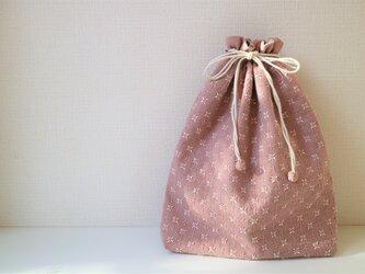 【T様専用】春が待ち遠しい ピンクの『米刺し』刺し子きんちゃく<Lサイズ>の画像