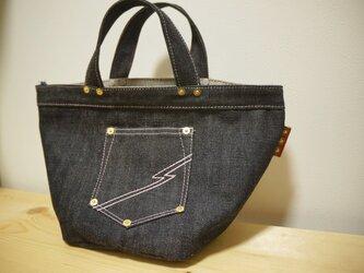 お財布、携帯などの普段使いに‼︎デニムミニバッグ ピンク デニム バッグ 四角の画像