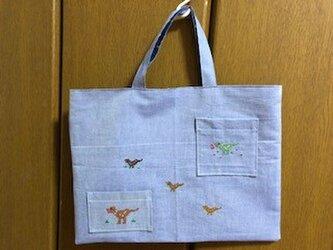 1点限定★レッスンバッグ:クロスステッチ刺繍の恐竜たち*通園通学の画像