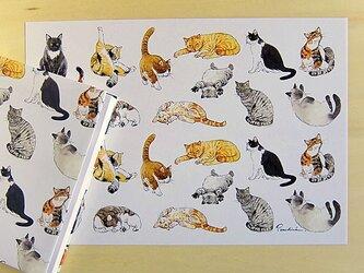 猫のラッピングペーパーの画像