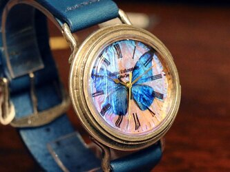 【受注】本物のモルフォ蝶の翅を文字盤にした 銀製 腕時計 Sランク Lサイズの画像
