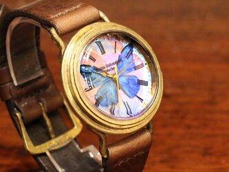 本物のモルフォ蝶の翅を文字盤にした腕時計 Sランク Lサイズの画像