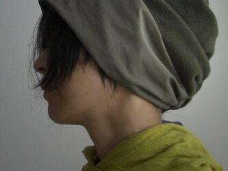 ターバンな帽子 カーキ+黒 送料無料の画像