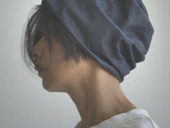 ターバンな帽子 デニム+ネイビー 送料無料の画像