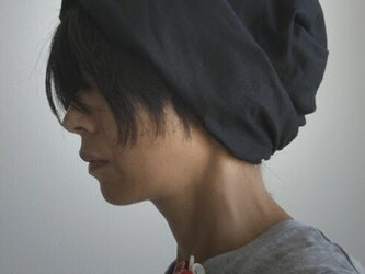 ターバンな帽子 黒リバーシブル 送料無料の画像