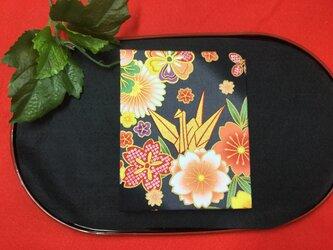 和物カードケース36枚入【黒色折鶴】の画像