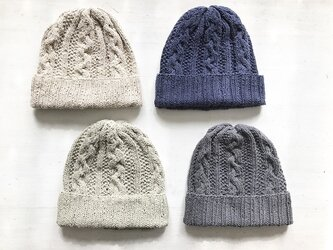 コットン帽子・60[なわ編み×かのこ編み]の画像