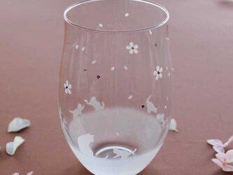 【桜舞う季節】猫モチーフのタンブラーグラス(vol.5)の画像