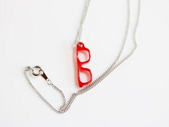 メガネネックレス(ウェリントン、赤)の画像