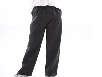 【wafu】リネンパンツ・ウエストゴム・ベルトループ・ポケット付 /ブラック bo5-53の画像