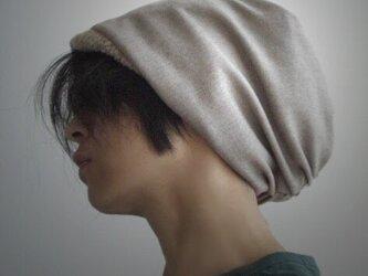 ターバンな帽子 ベージュ白 送料無料の画像