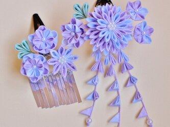 《受注製作》*:・夢見る*:砂糖菓子の髪飾り 薄紫 2点セット♡つまみ細工 かんざし 和 or 浴衣 or 着物の画像