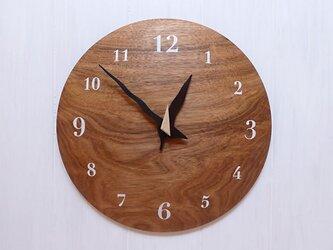 クルミ 30㎝ 曲面時計euph 003s 文字盤白色の画像