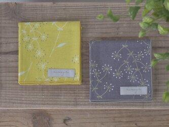 綿ダブルガーゼハンカチ(小)【KASUMISOU/グレー】の画像
